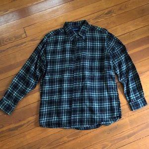 John Ashford Black & Green Plaid Flannel